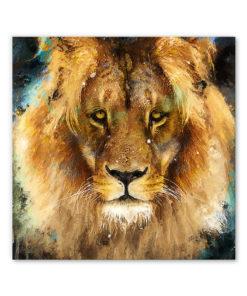 tableau portrait lion peinture pop art