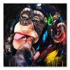 Tableau singe grimace peinture pop art