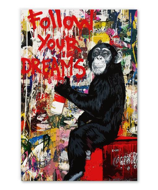 Tableau deco singe street art