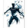 Tableau Black Panther Marvel encre watercolor pop art