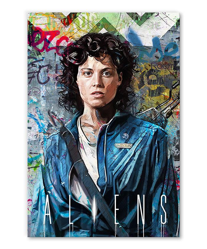 Tableau Aliens Ellen Ripley Sigourney Weaver pop art