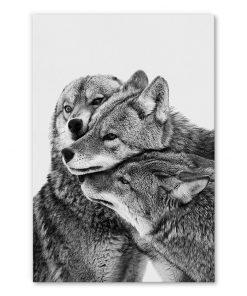 tableau loups noir et blanc