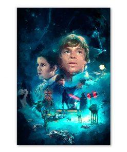 tableau star wars personnages peinture luke skywalker princesse leia