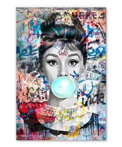 Tableau Audrey Hepburn Chewing-gum Street Art