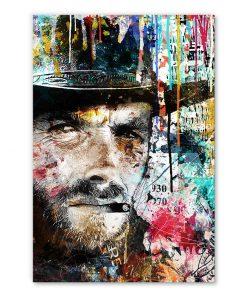 Tableau deco Clint Eastwood Western street art