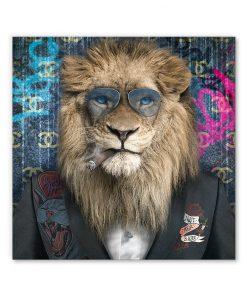 tableau deco lion costume cigare animal pop art